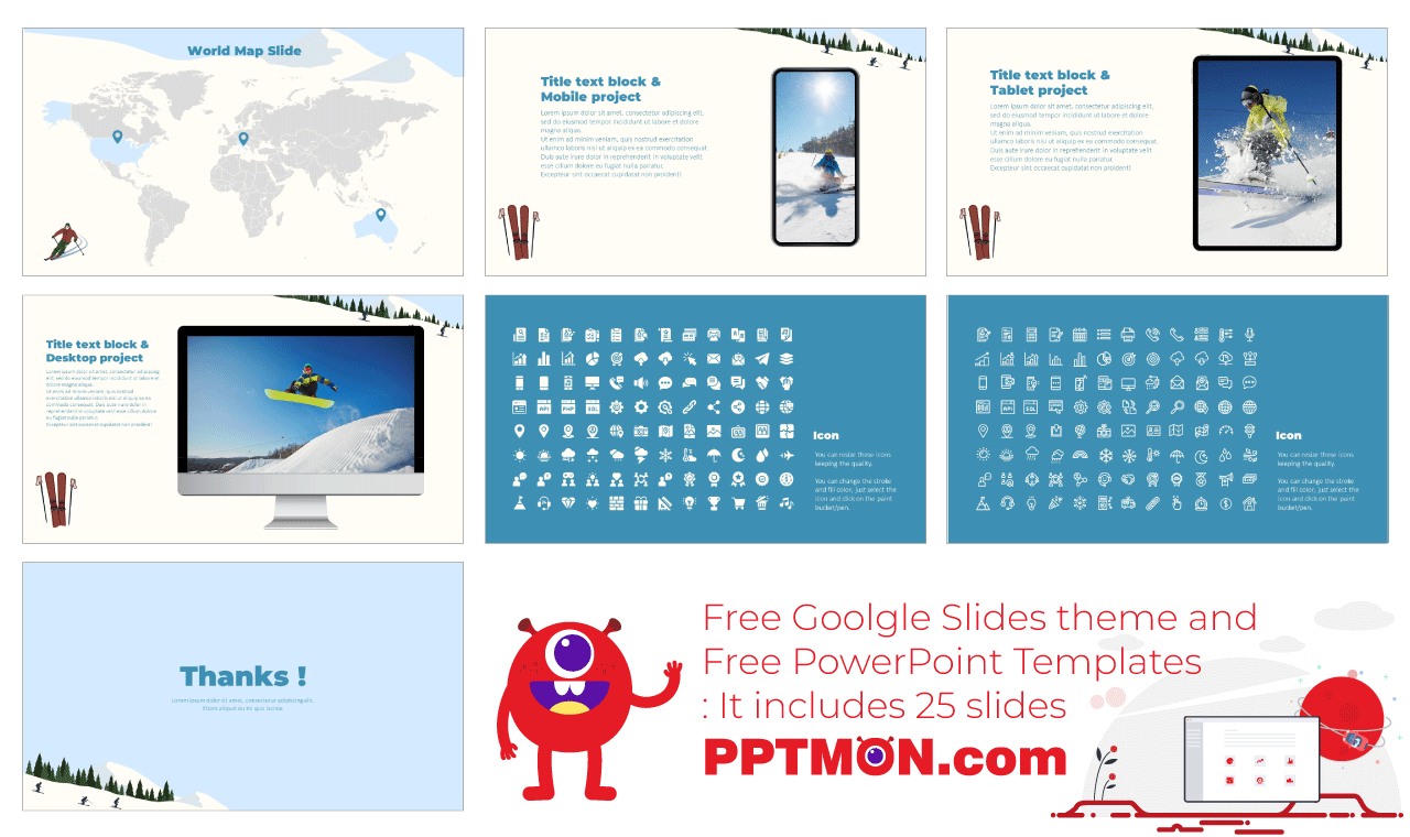 Winter Ski Trip Presentation Background Design Google Slides Theme PowerPoint Template Free Download