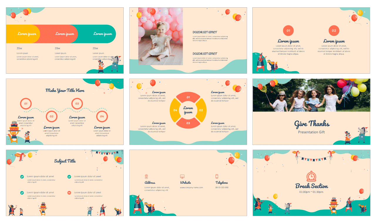 Birthday Card Google Slides Theme PowerPoint Template Free download