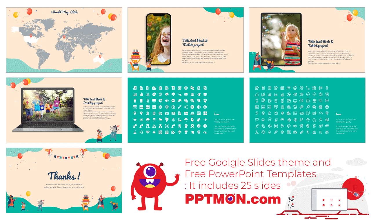 Birthday Card Presentation backgorund design Free Google Slides Theme PowerPoint Template