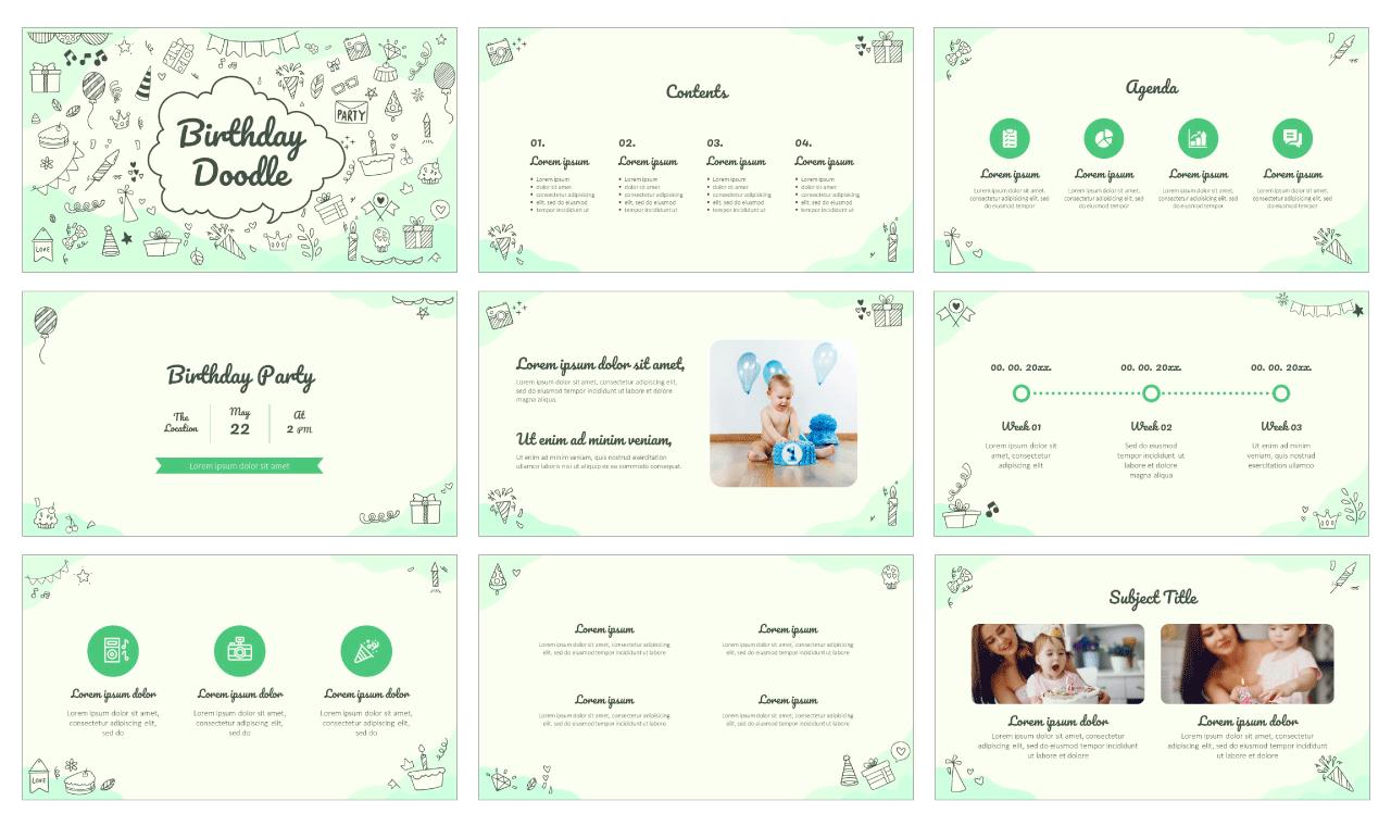 Birthday Doodle Free Google Slides Theme PowerPoint Template