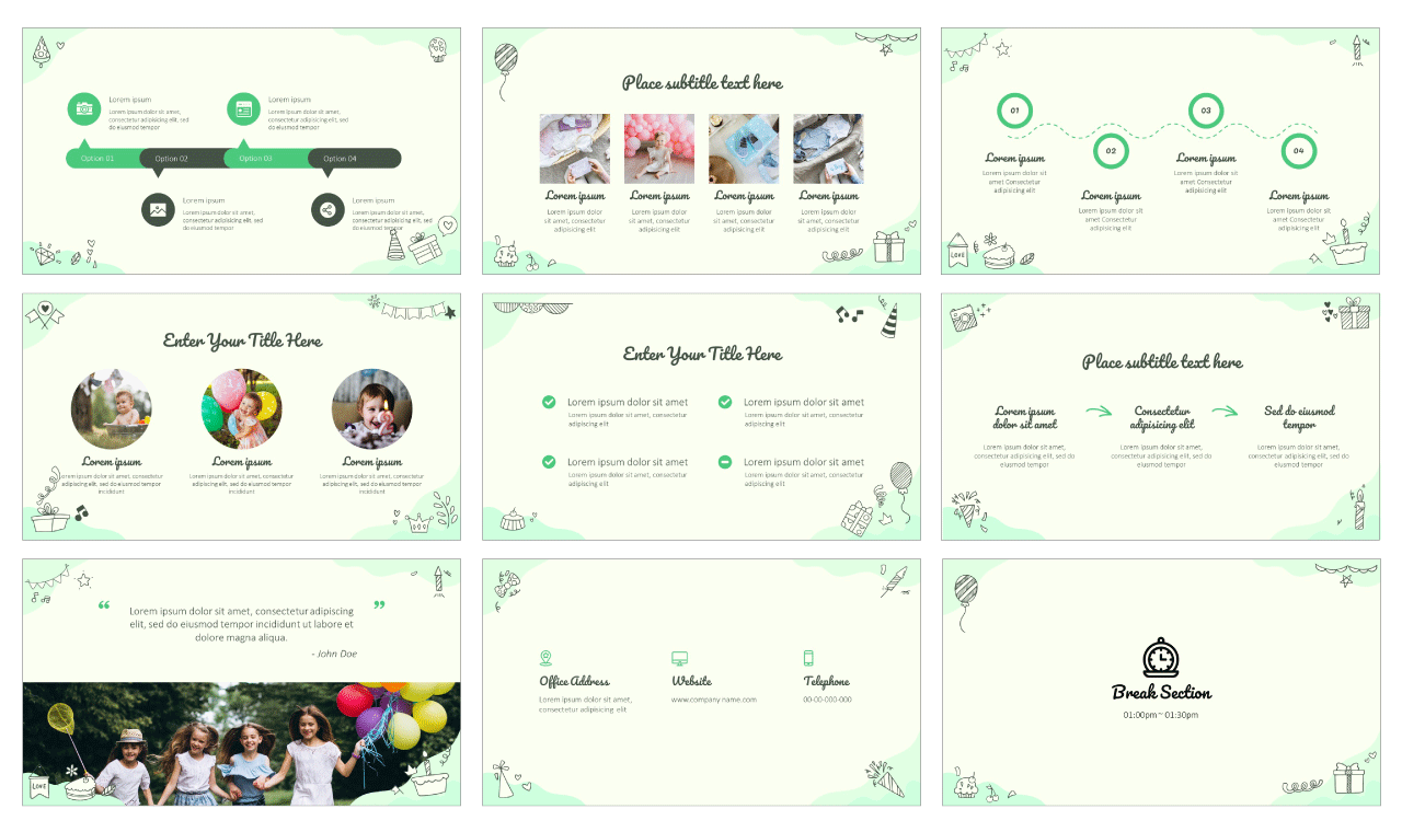 Birthday Doodle Google Slides Theme PowerPoint Template Free download