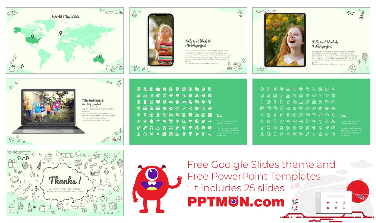 Birthday Doodle Presentation background design Free Google Slides Theme PowerPoint Template