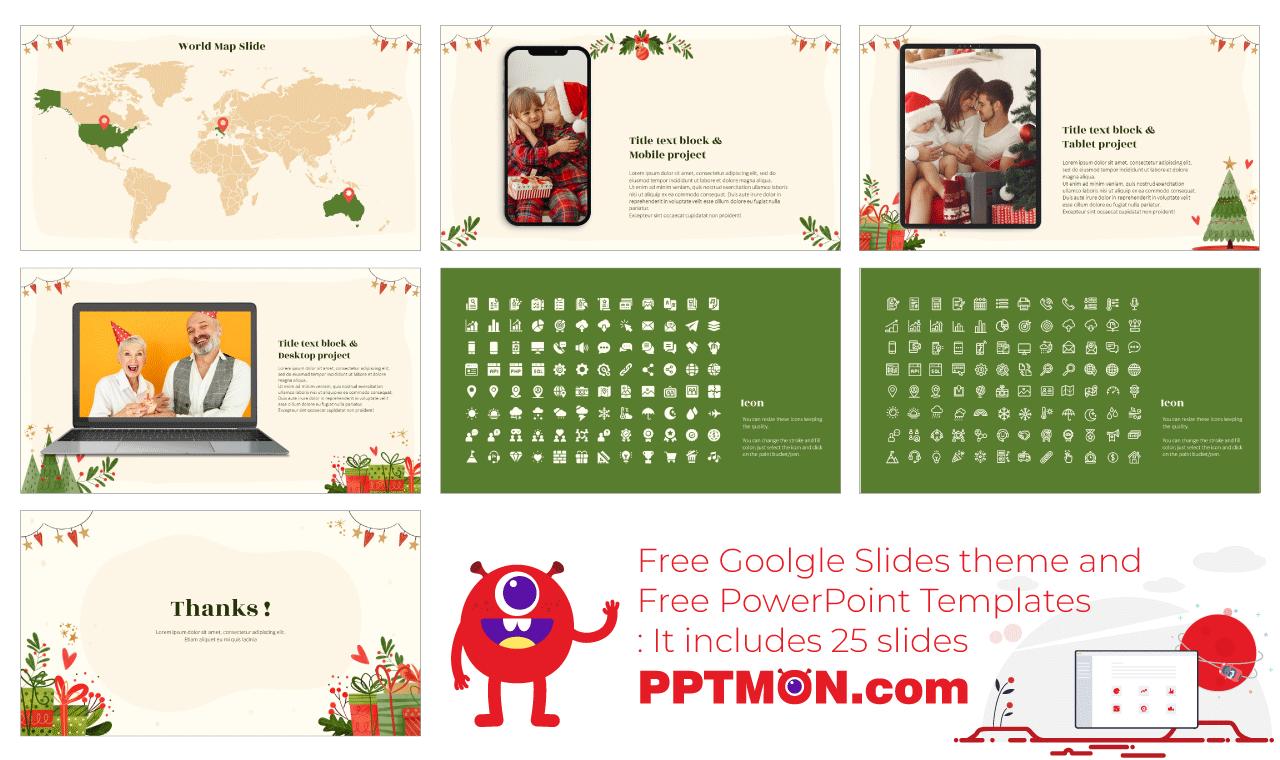 Christmas Presentation background design Free PowerPoint Template Google Slides Theme