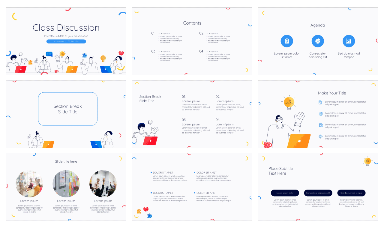 Class Discussion Free PowerPoint Template Google Slides Theme