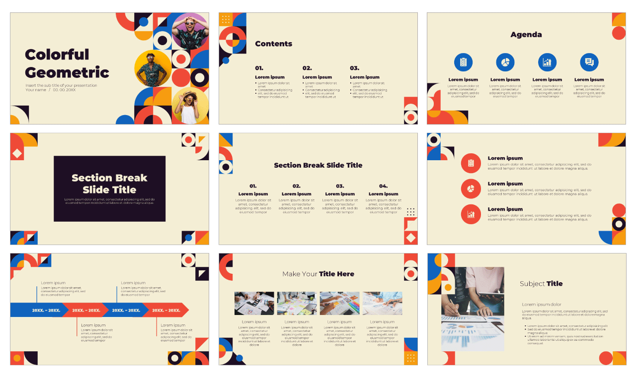 Colorful Geometric Free Google Slides Theme PowerPoint Template