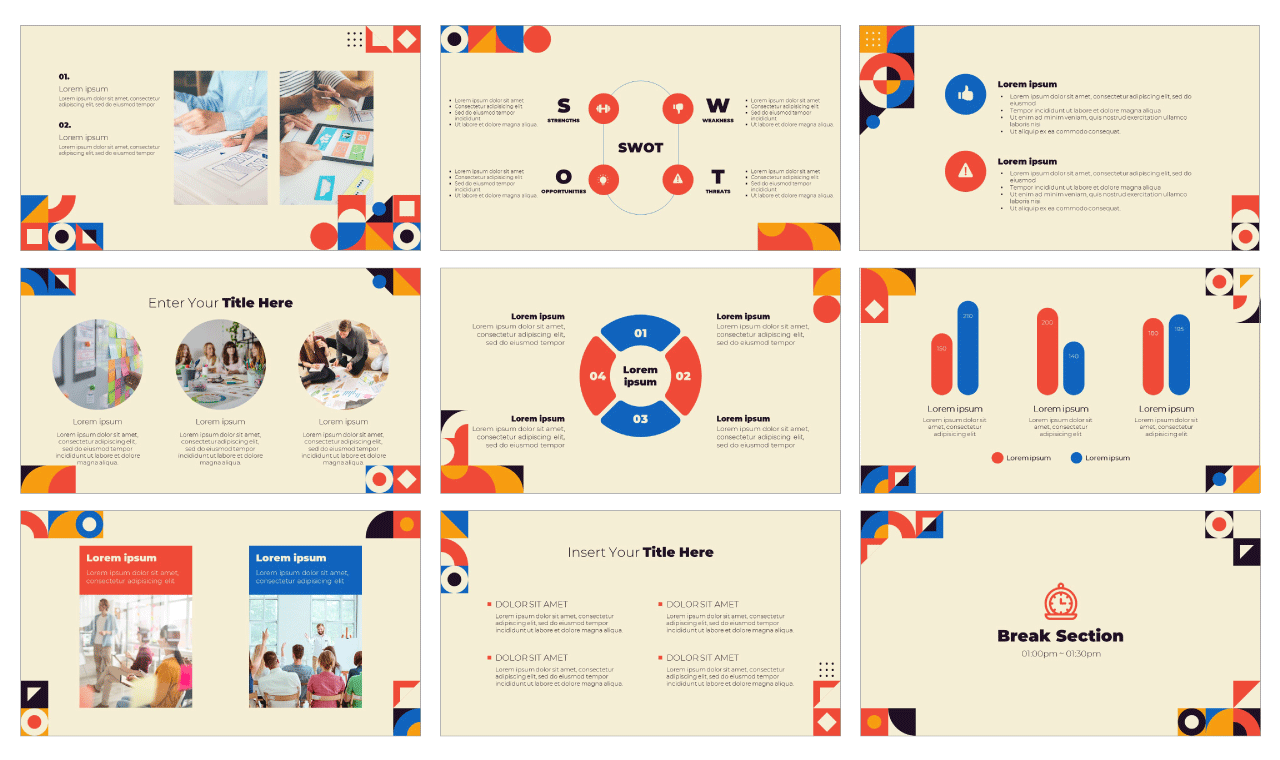 Colorful Geometric Google Slides Theme PowerPoint Template