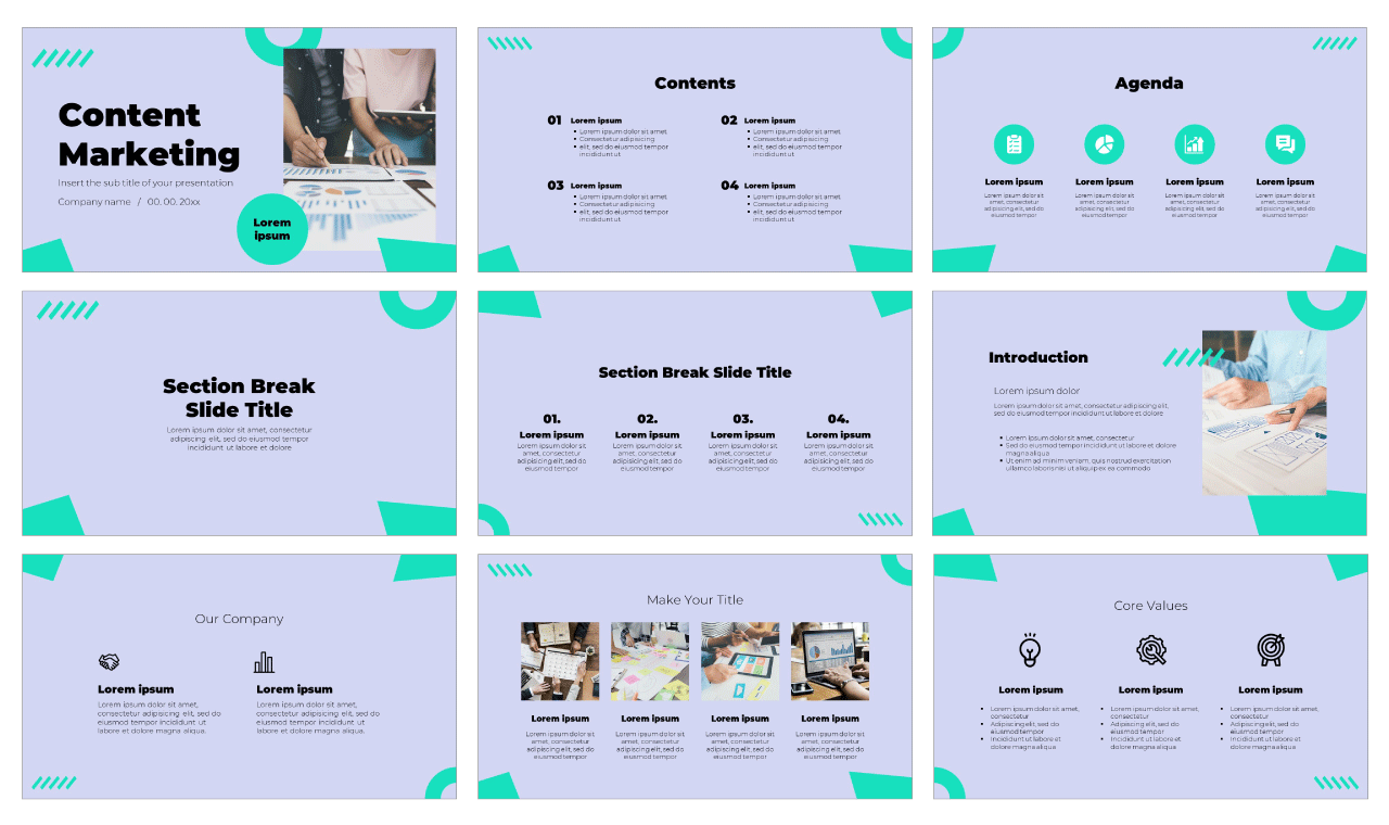 Content Marketing Free Google Slides Theme PowerPoint Template