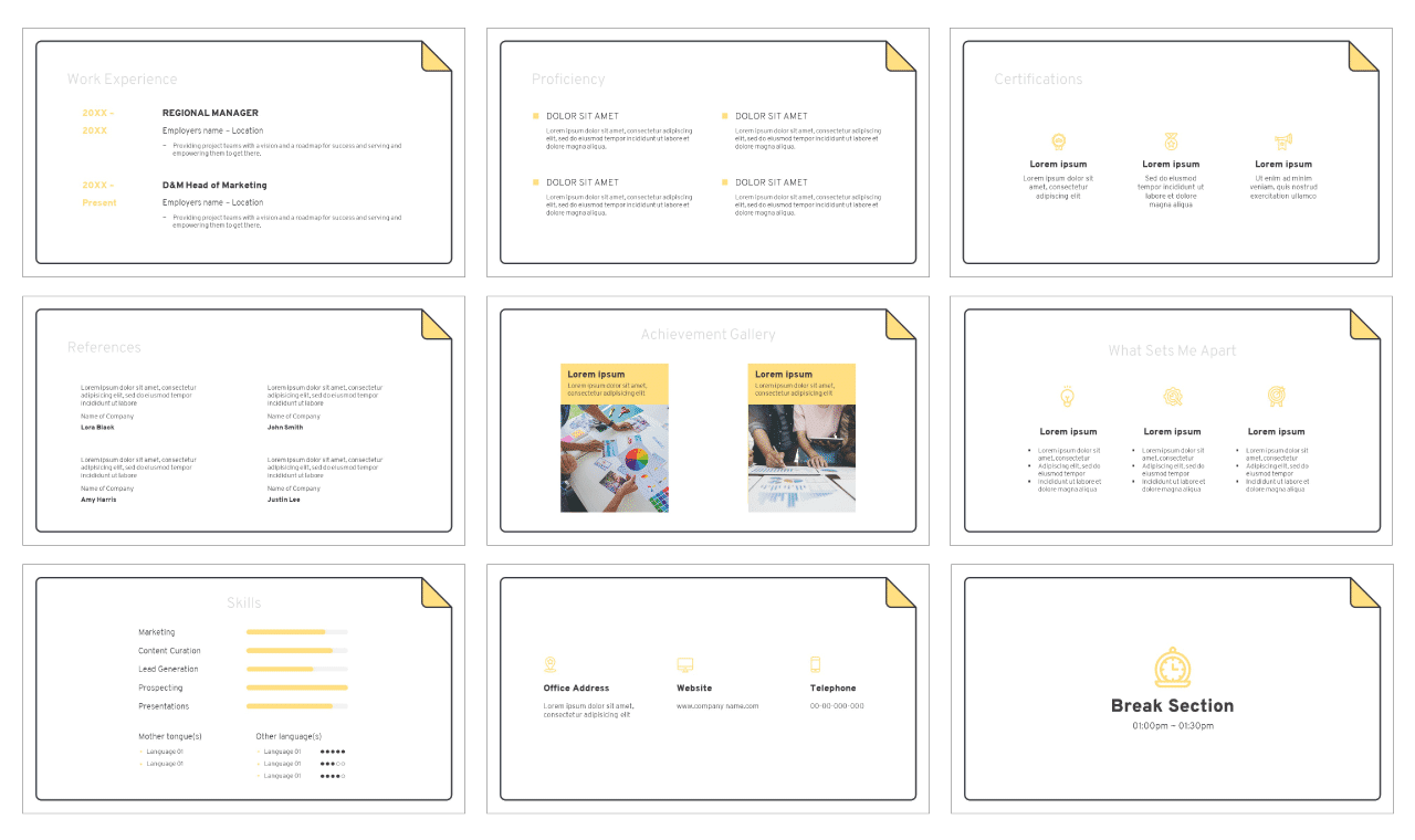 Curriculum Vitae Google Slides Theme PowerPoint Template Free download