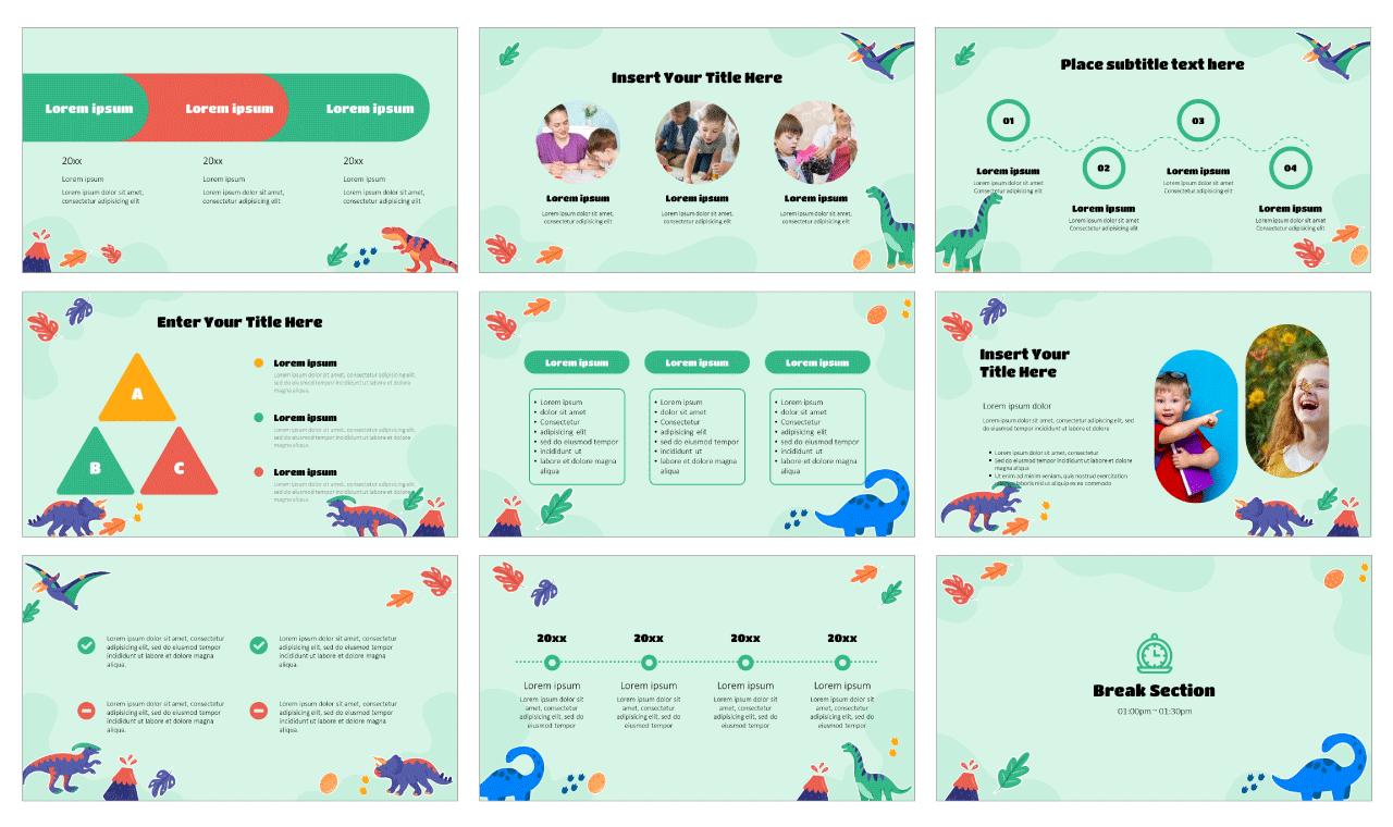 Dinosaur Stickers Google Slides Theme PowerPoint Template Free download