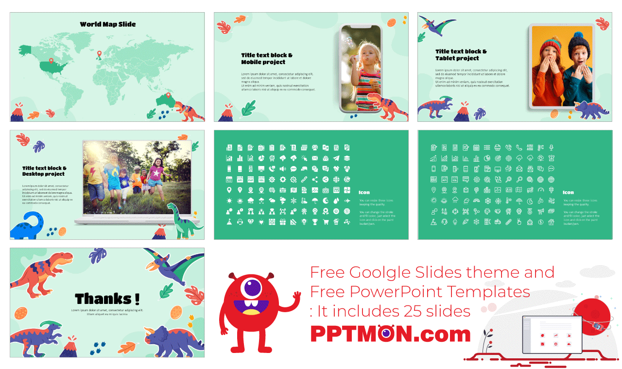 Dinosaur Stickers Presentation background design Free Google Slides Theme PowerPoint Template
