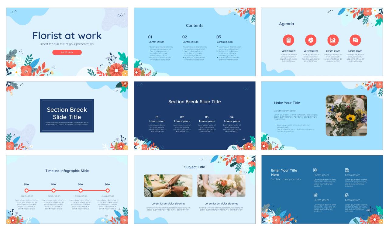 Florist Free PowerPoint Template Google Slides Theme