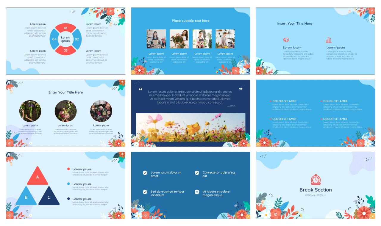 Florist PowerPoint Template Google Slides Theme Free download