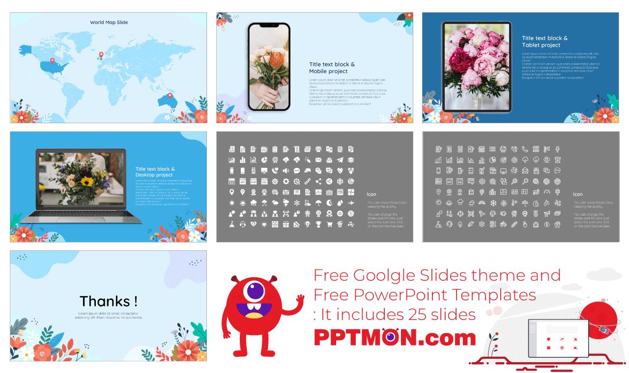 Florist Presentation background design Free PowerPoint Template Google Slides Theme