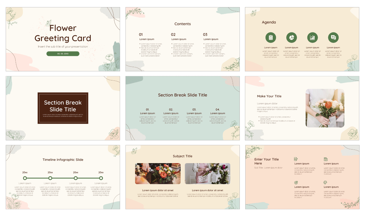Flower Greeting Card Free PowerPoint Template Google Slides Theme