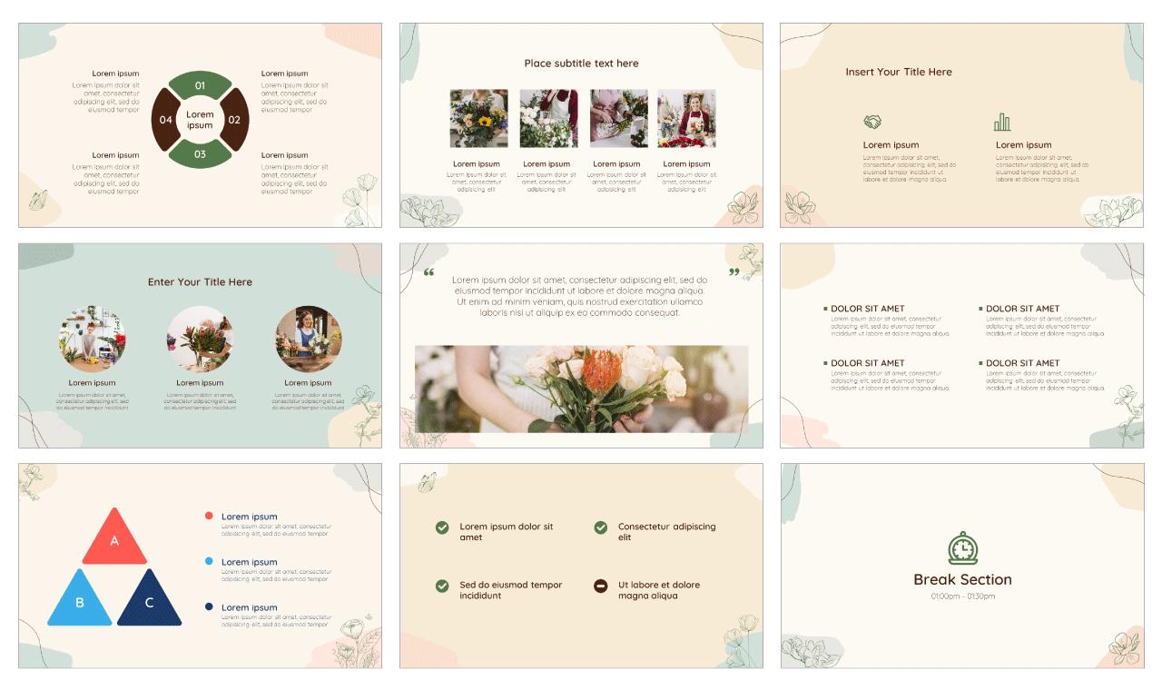 Flower Greeting Card PowerPoint Template Google Slides Theme