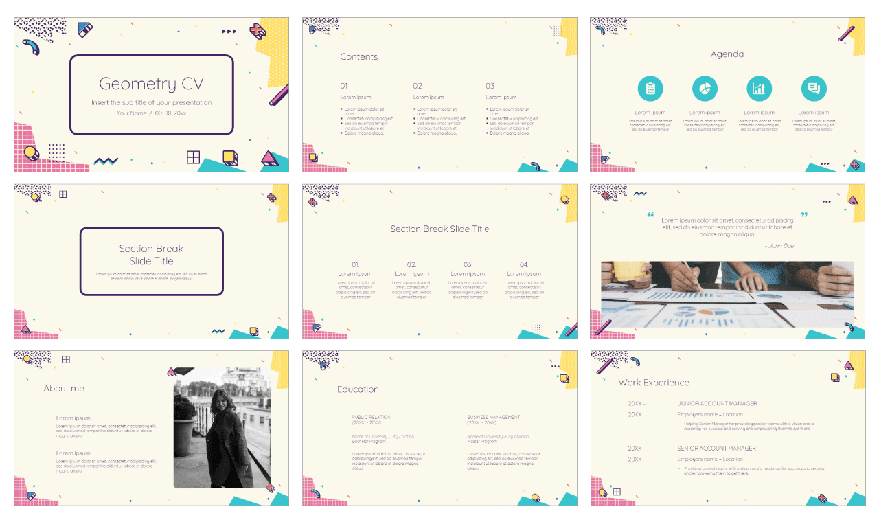 Geometry CV Free Google Slides Theme PowerPoint Template
