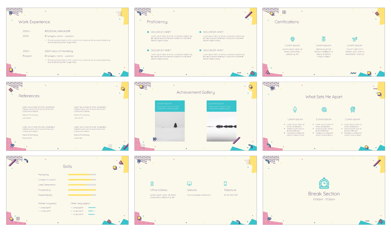 Geometry CV Google Slides Theme PowerPoint Template Free download
