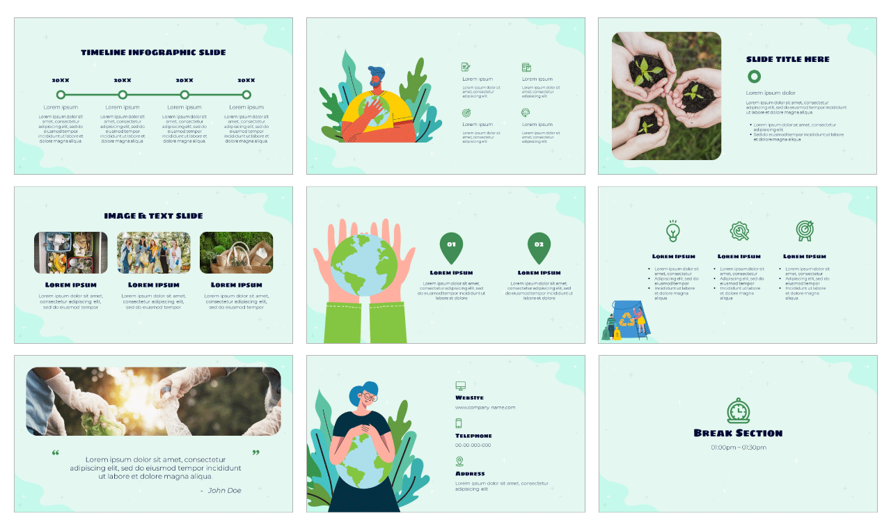 Go Green Google Slides Theme PowerPoint Template Free download
