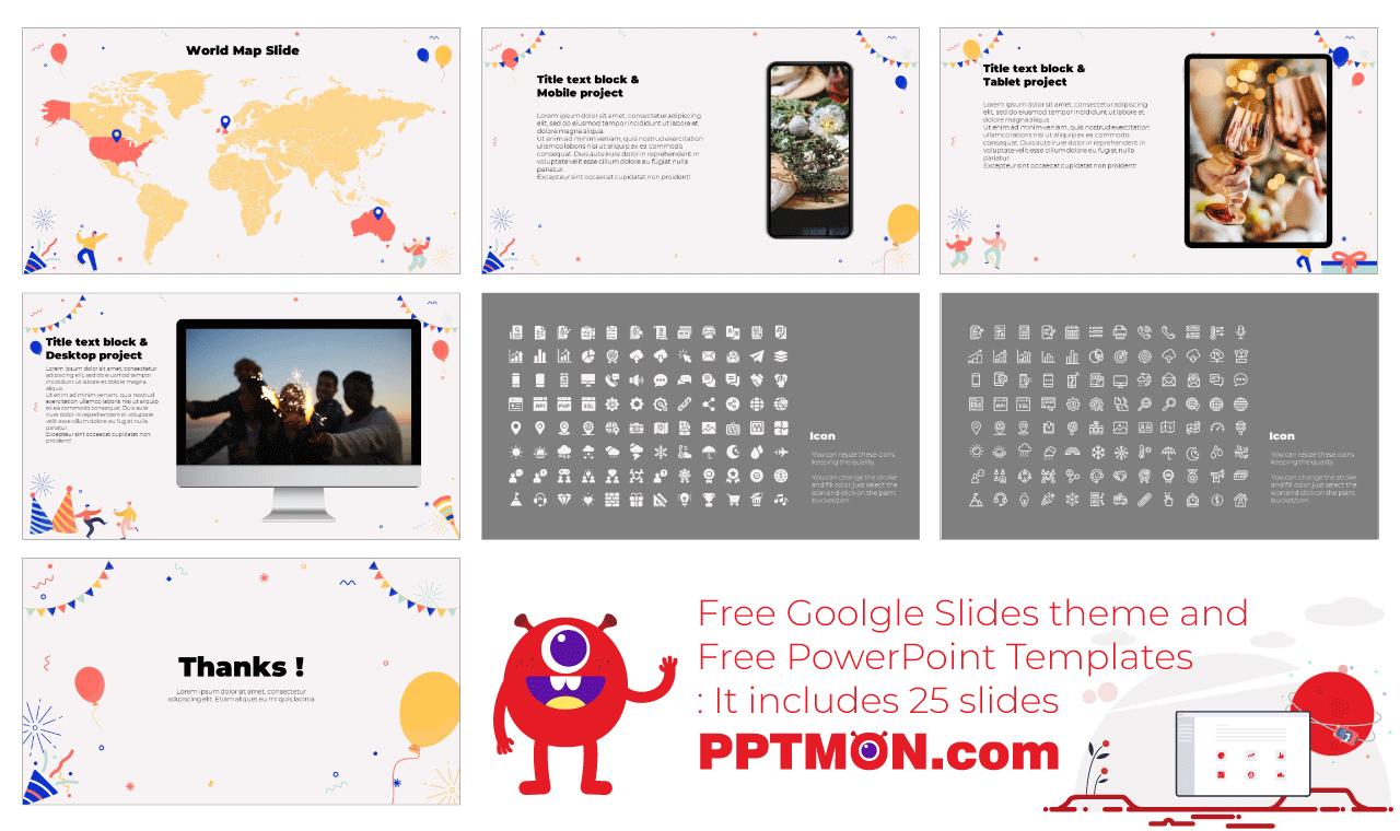 Happy New Year Presentation background design Free Google Slides Theme PowerPoint Template