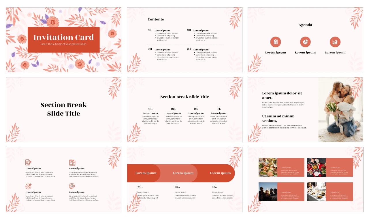 Invitation Card Free PowerPoint Template Google Slides Theme