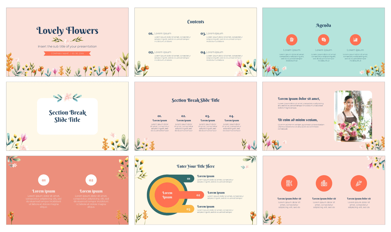 Lovely Flowers Free PowerPoint Template Google Slides Theme