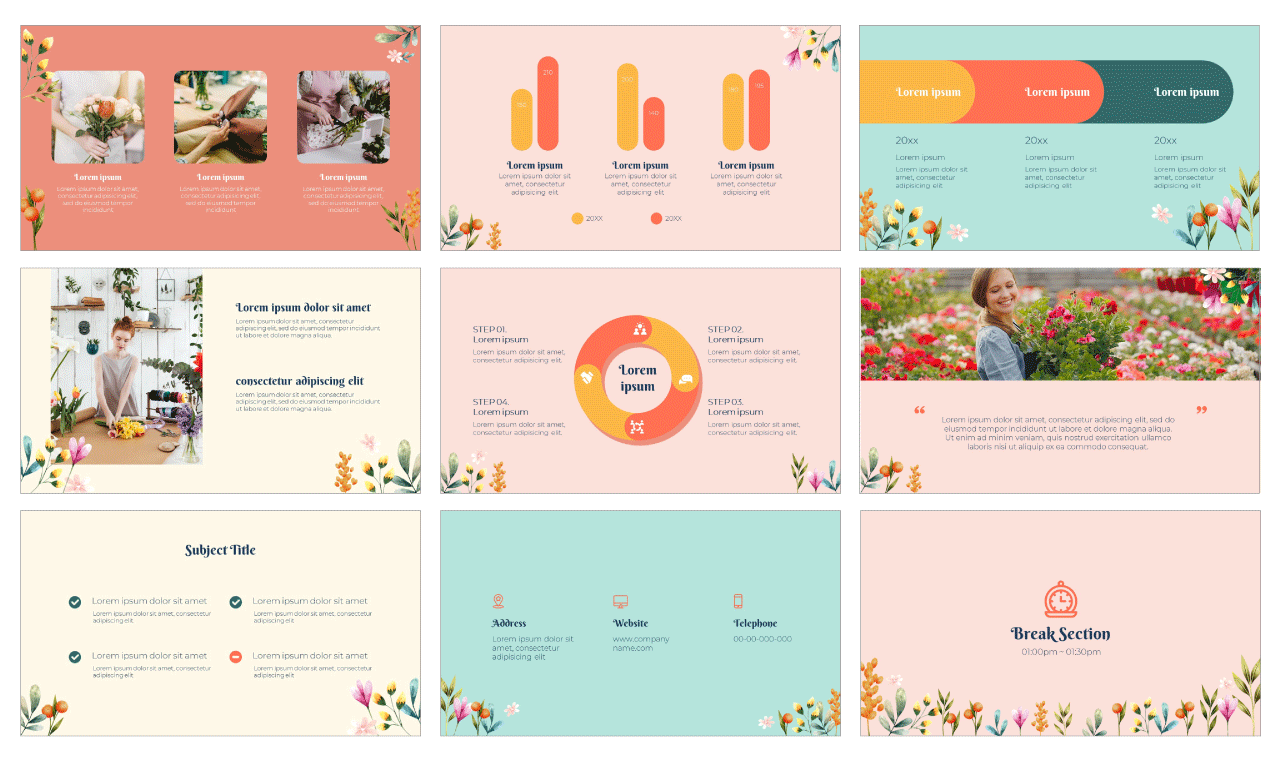 Lovely Flowers PowerPoint Template and Google Slides Theme