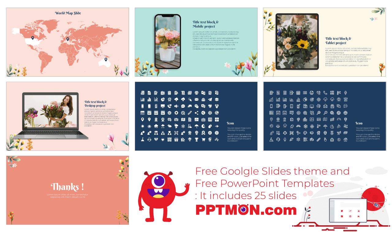 Lovely Flowers Presentation background design template