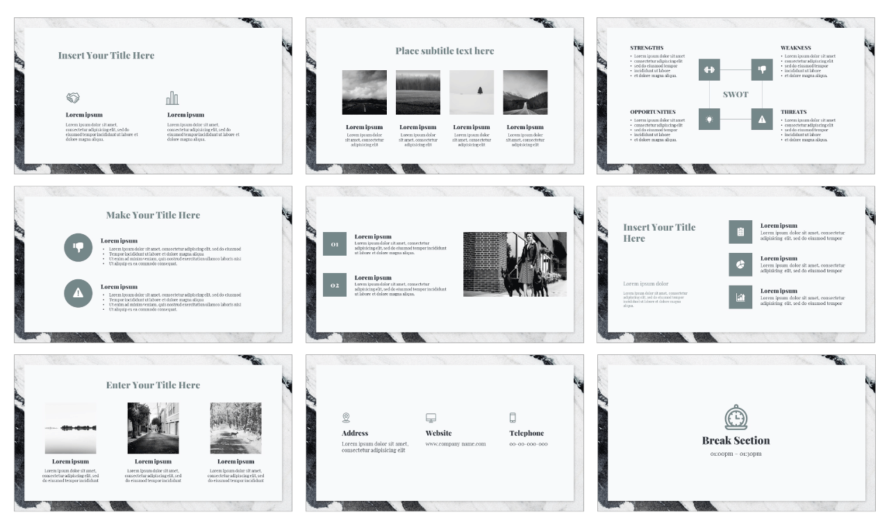 Marble Collection Google Slides Theme PowerPoint Template Free download