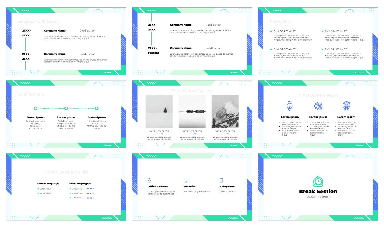 Modern CV PowerPoint Template Google Slides Theme Free download