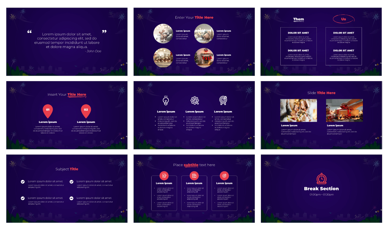 New Year's Eve Google Slides Theme PowerPoint Template Free download