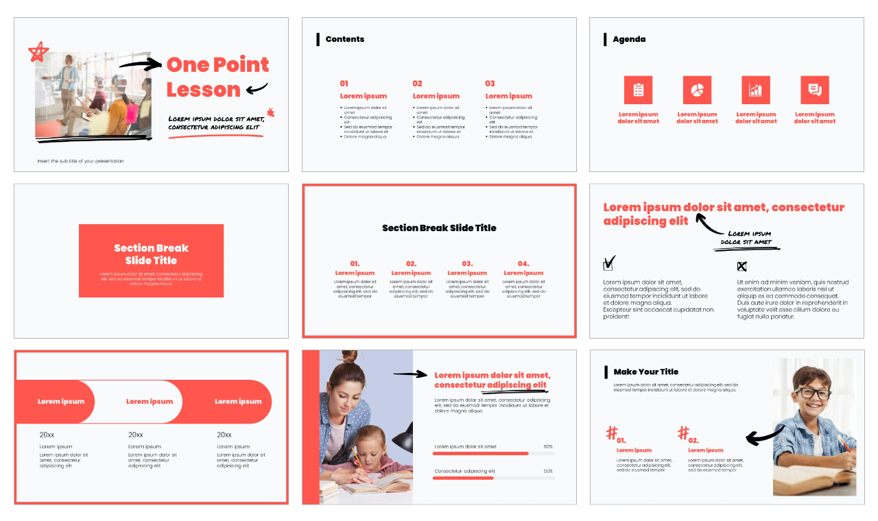 One Point Lesson Free PowerPoint Template Google Slides Theme