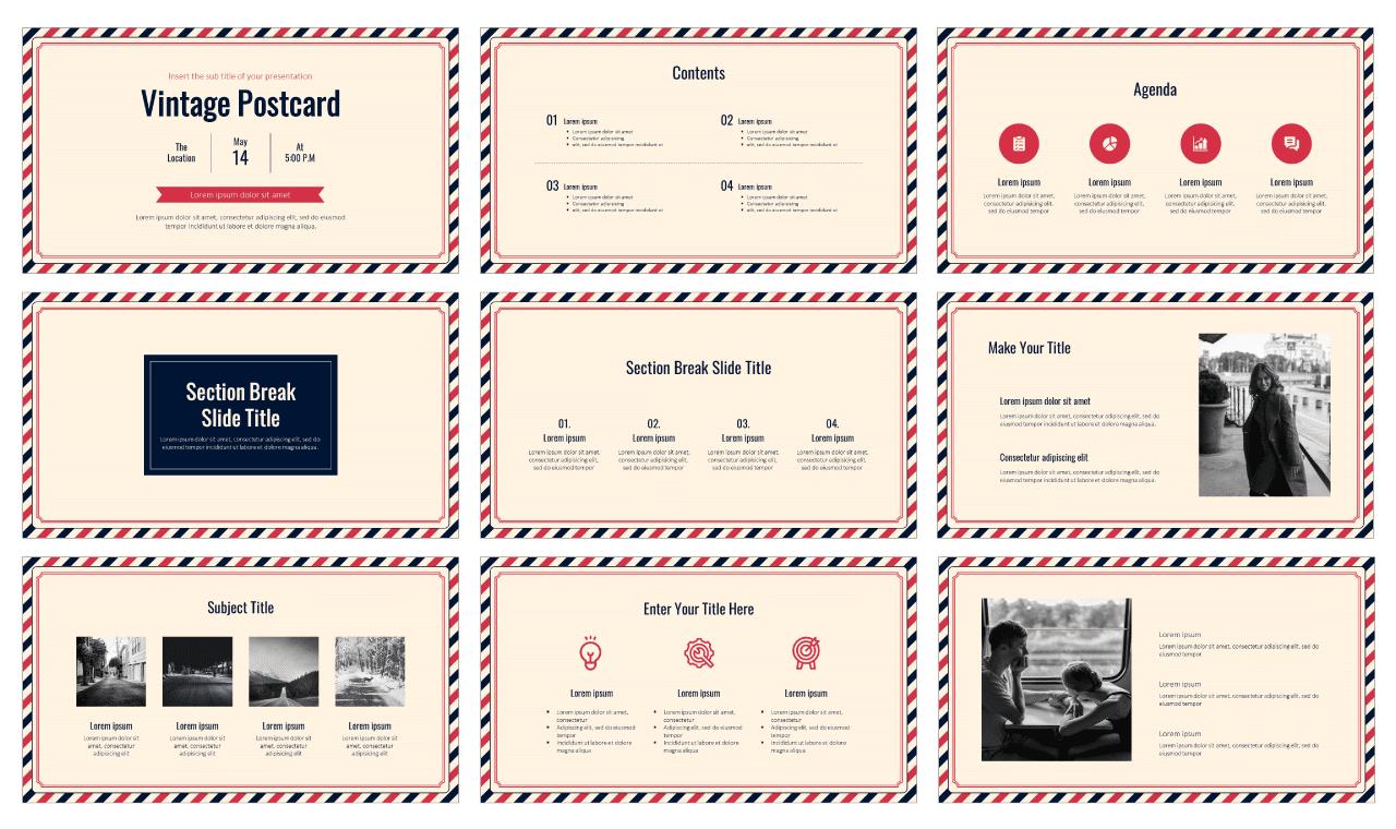 Postcard Free PowerPoint Template Google Slides Theme