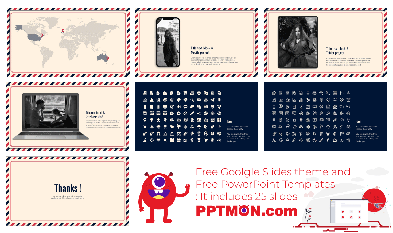 Postcard Presentation background design PowerPoint Template Google Slides Theme free download