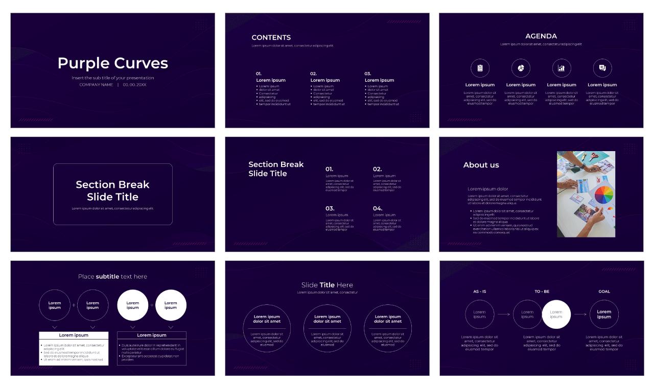 Purple Curves Free Google Slides Theme PowerPoint Template