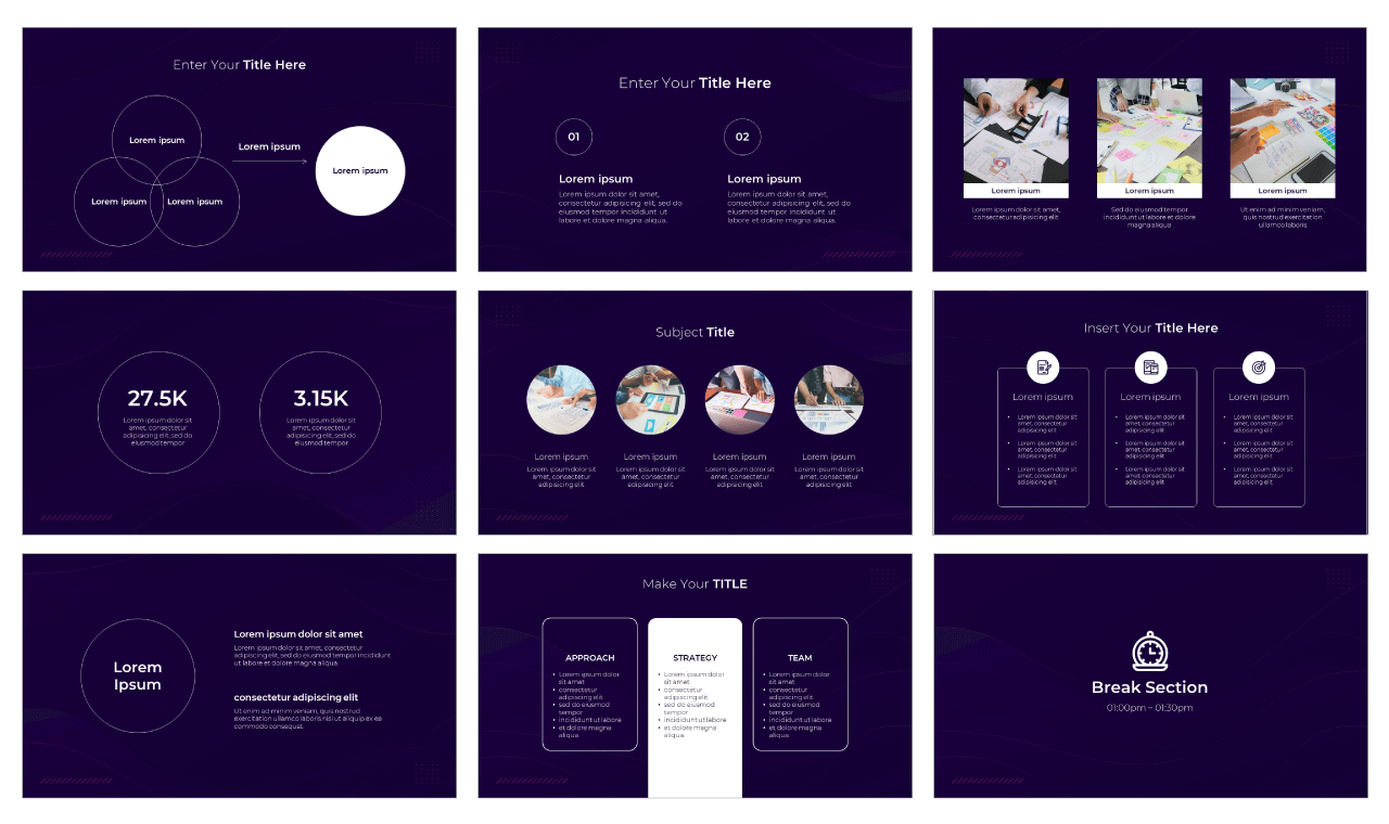 Purple Curves Google Slides Theme PowerPoint Template Free Download