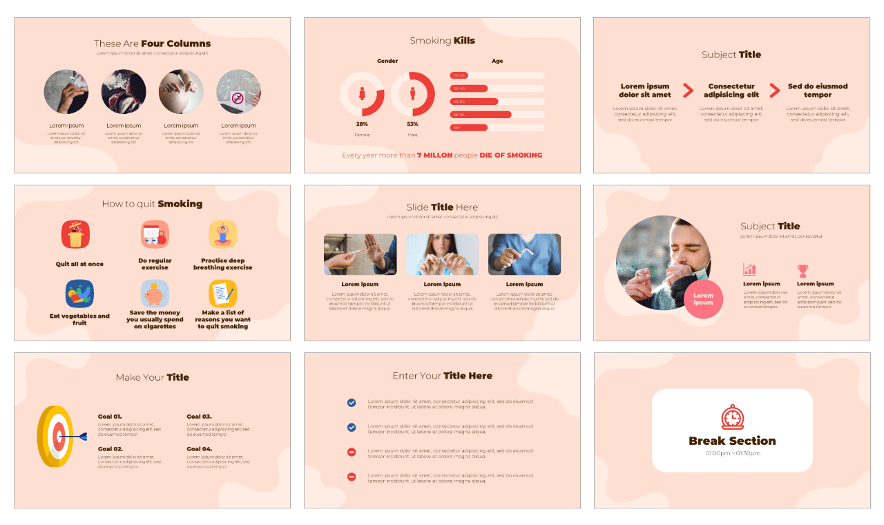 Quit Smoking PowerPoint Template Google Slides Theme Free download