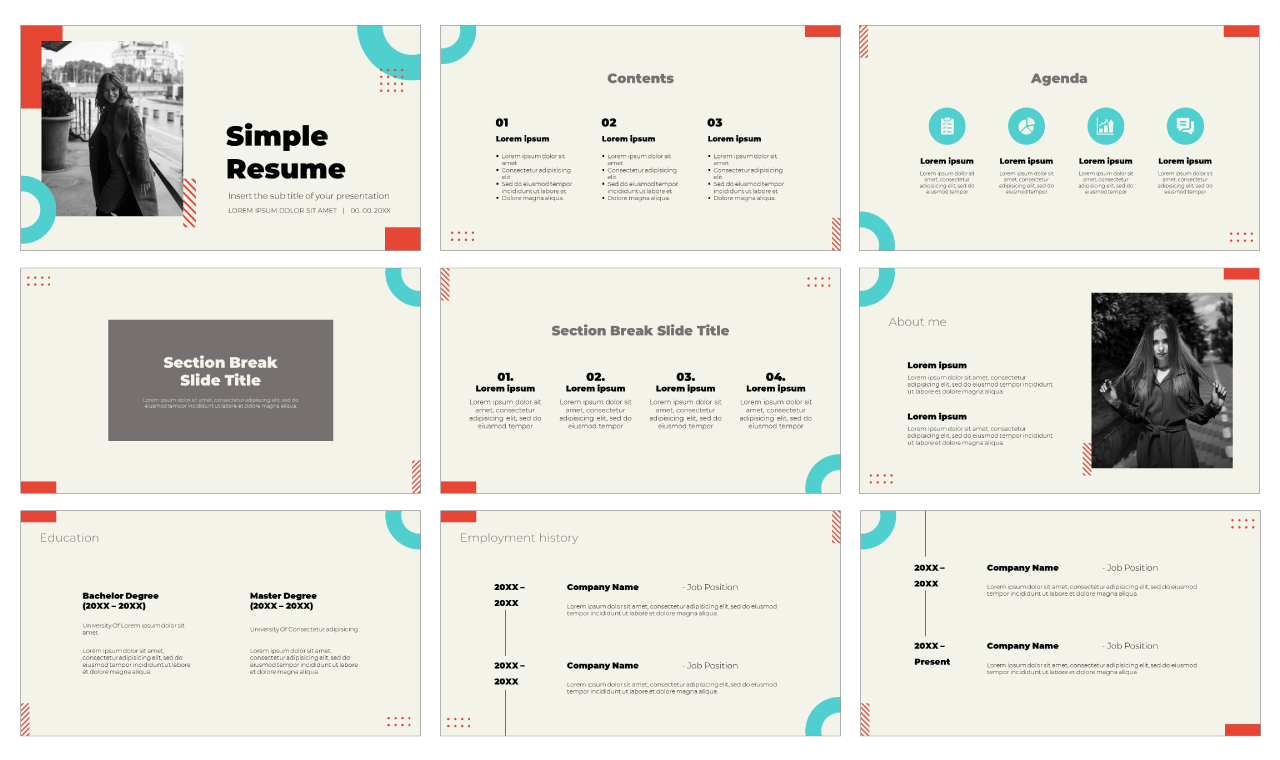 Simple Resume Free Google Slides Theme PowerPoint Template