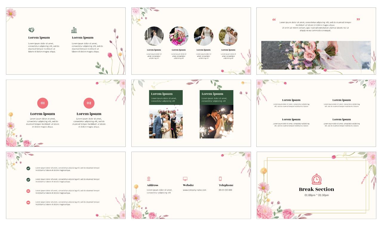 Wedding Google Slides Theme PowerPoint Template Free download