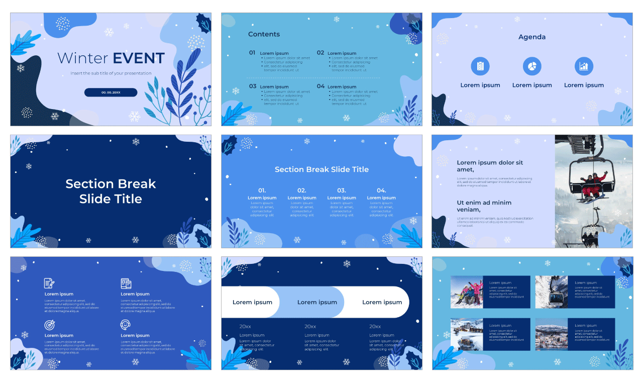 Winter Event Free PowerPoint Template Google Slides Theme