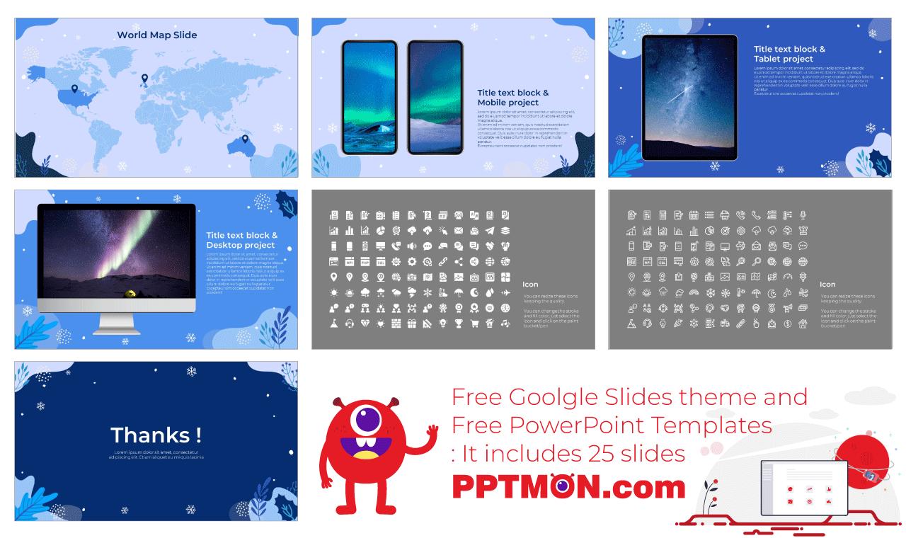 Winter Event Presentation background design Free PowerPoint Template Google Slides Theme
