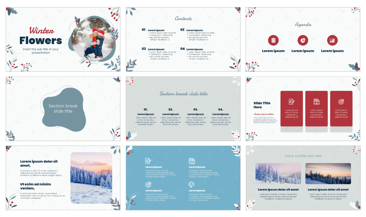 Winter Flowers Free PowerPoint Template Google Slides Theme