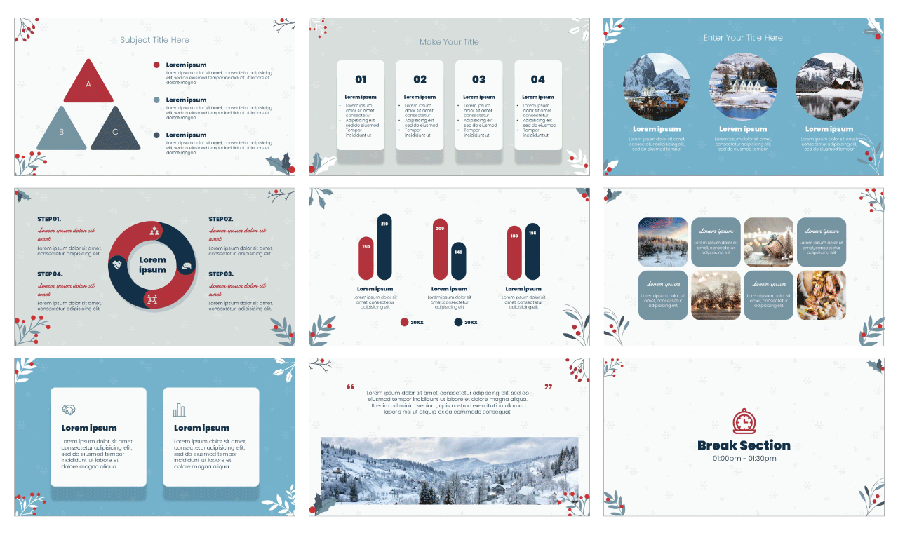 Winter Flowers PowerPoint Template Google Slides Theme Free download