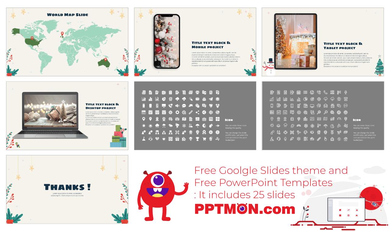 X-mas Presentation background design Free PowerPoint Template Google Slides Theme