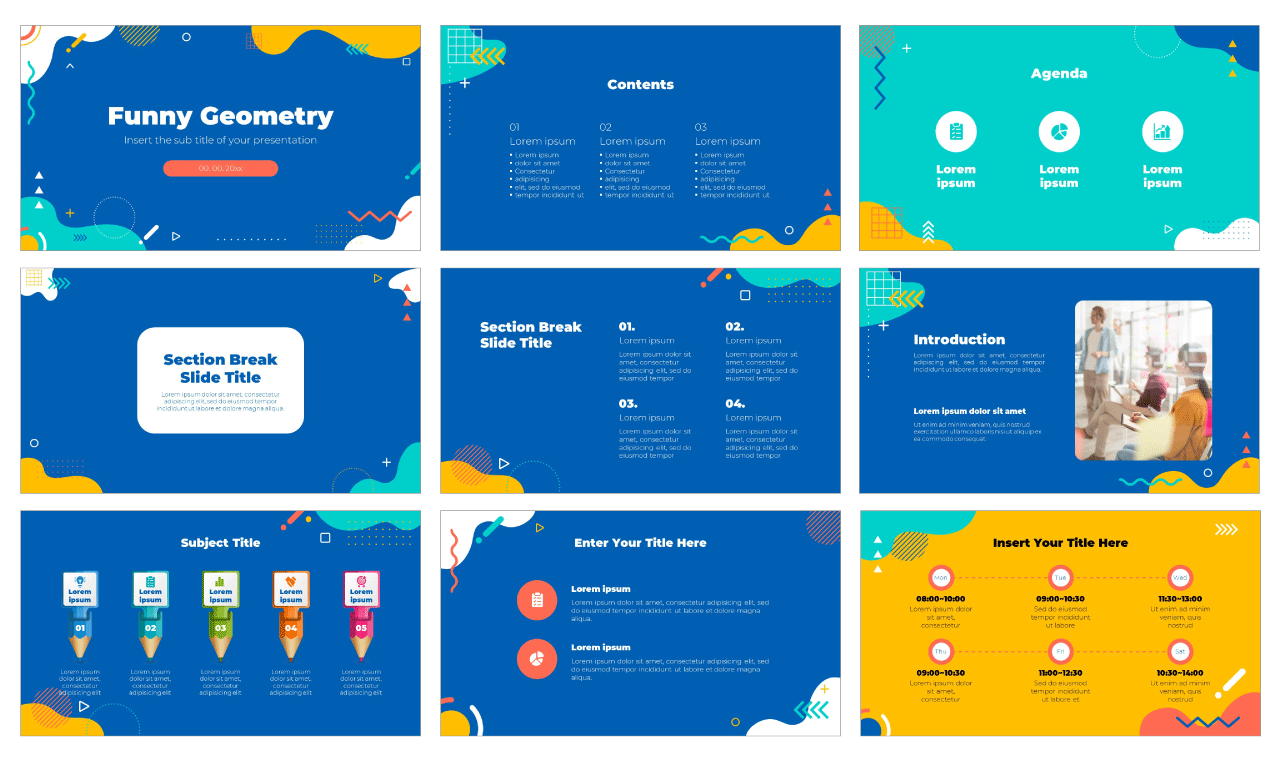 Funny Geometry Free PowerPoint Template Google Slides Theme