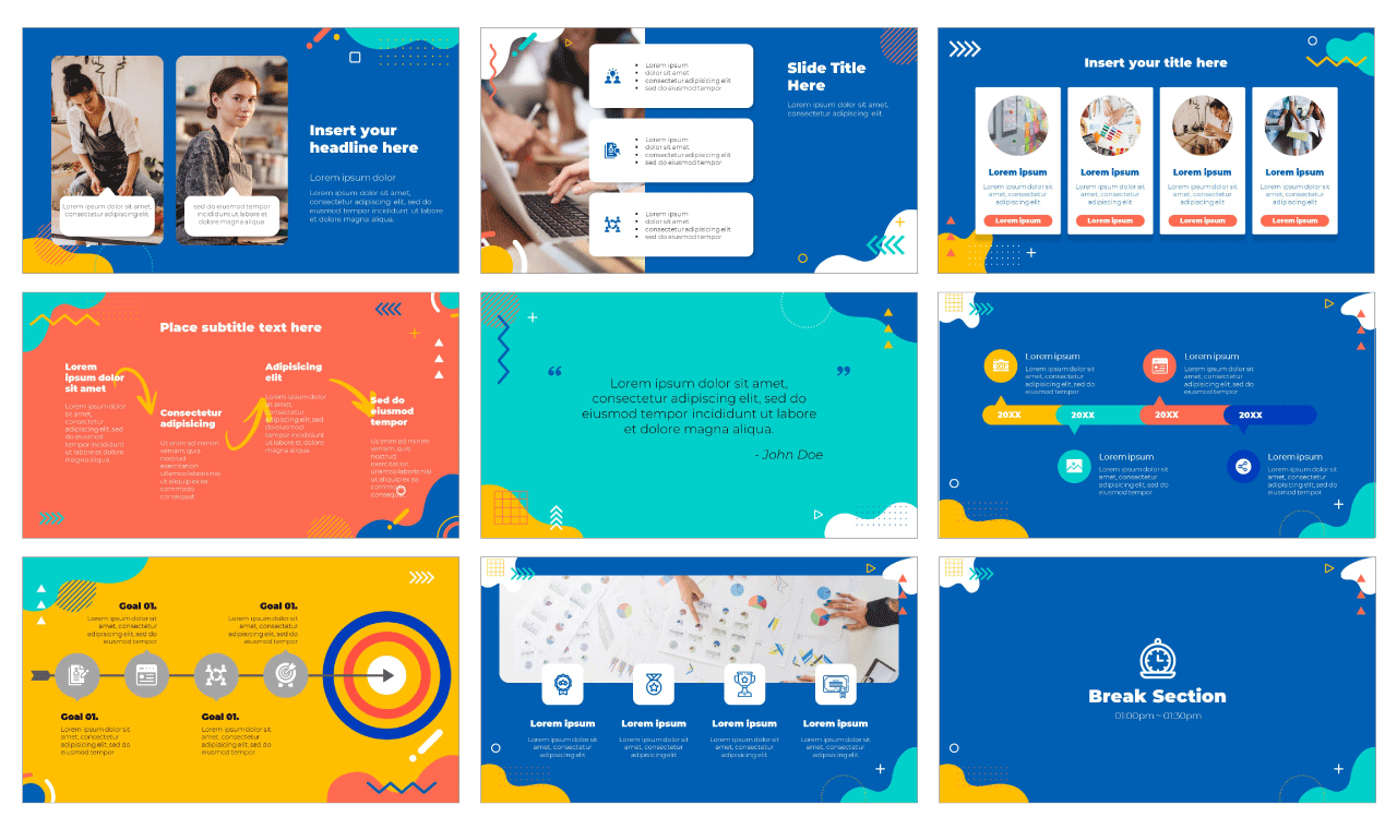 Funny Geometry PowerPoint Template and Google Slides Theme Free download