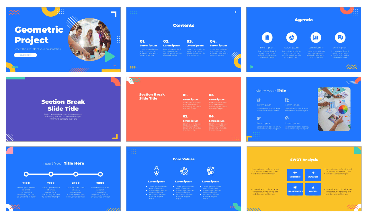 Geometric Project Free PowerPoint Template Google Slides Theme