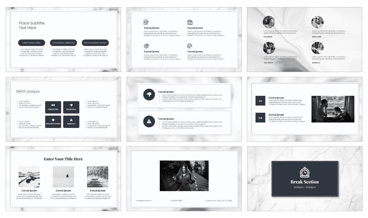 Marble Texture Google Slides Theme PowerPoint Template