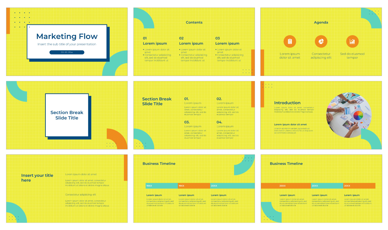 Marketing Flow Free PowerPoint Template Google Slides Theme