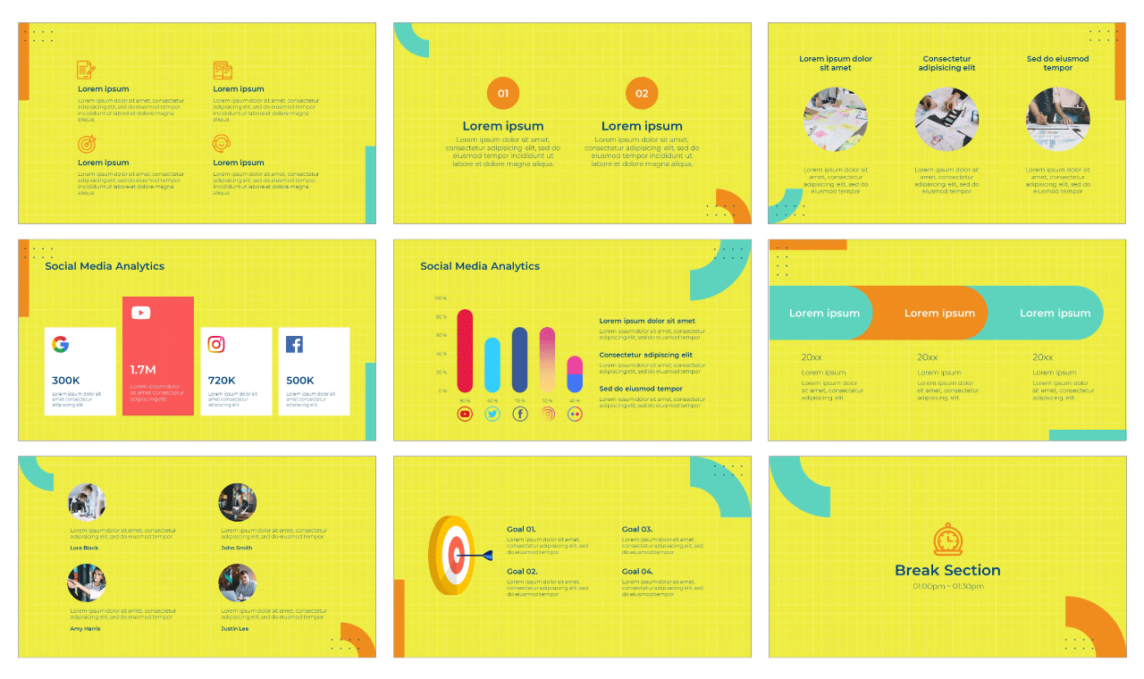 Marketing Flow PowerPoint Template Google Slides Theme Free download