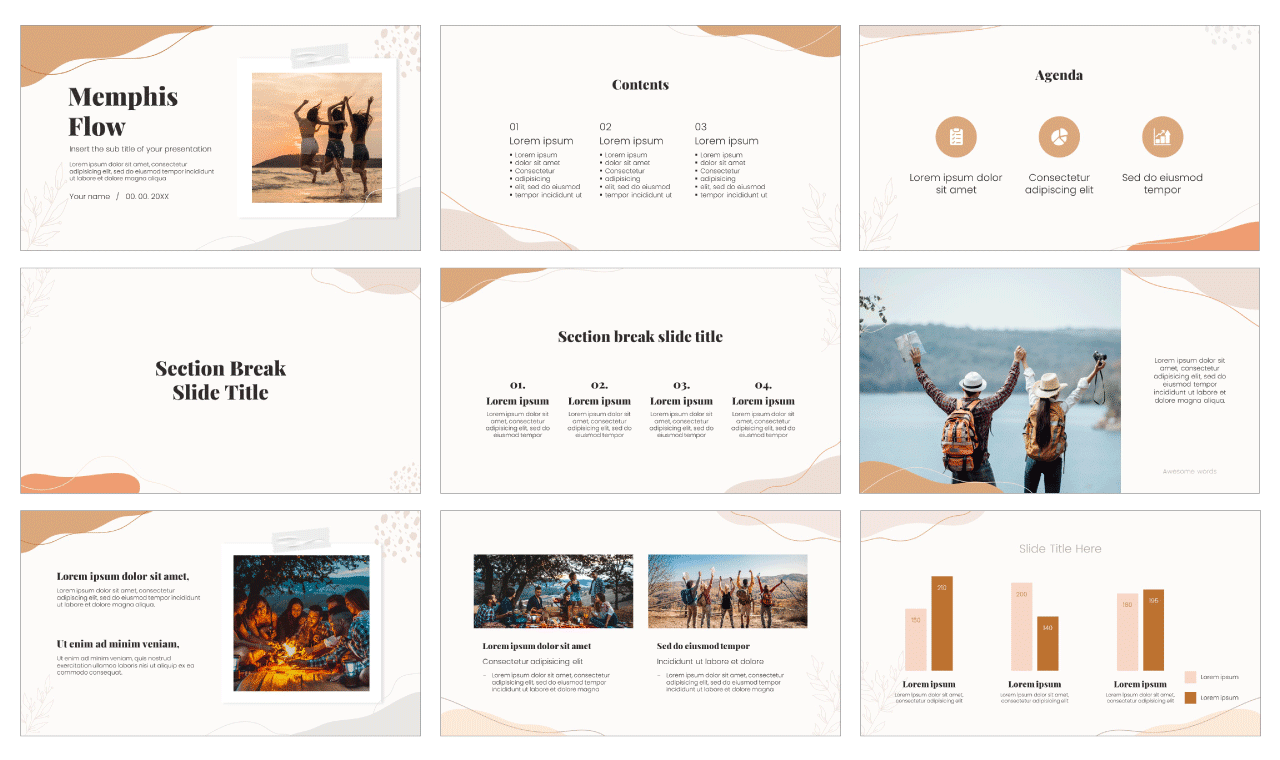 Memphis Flow Free PowerPoint Template Google Slides Theme